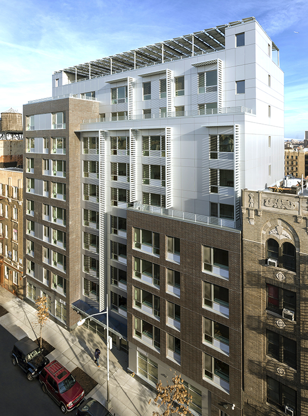 63,000 sq. ft. LEED platinum project of 66 affordable apartments built by Sisca on Creston Ave., Bronx NY