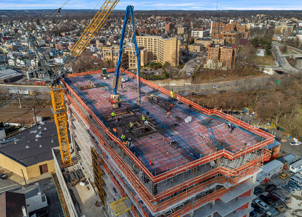 Sisca Organization's successful hi rise cement pour 42 Centre Ave in New Rochelle NY
