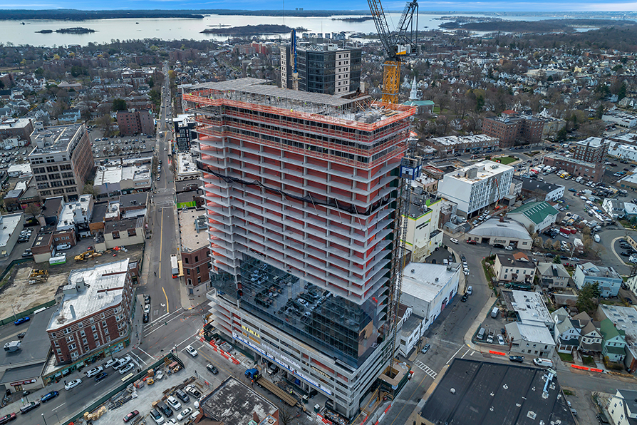 Sisca Organization completed 29 story concrete superstructure apartment building in New Rochelle NY